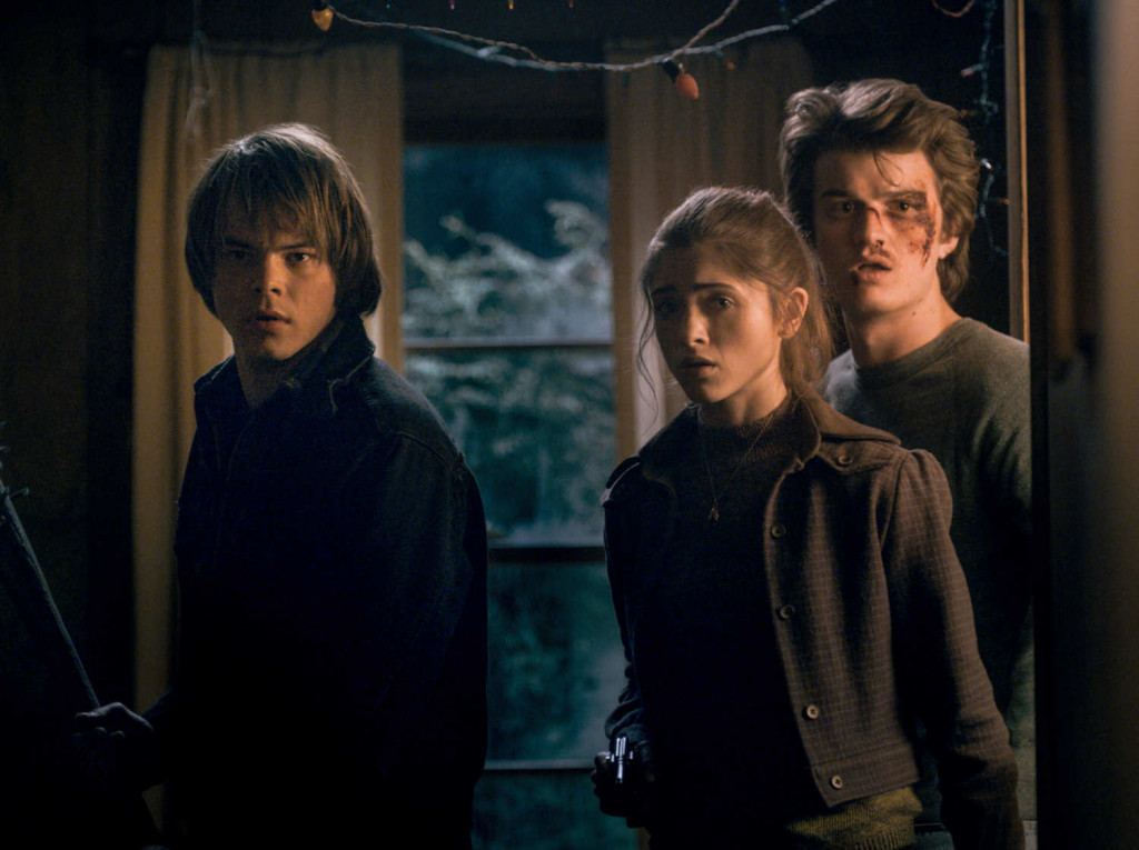 From left to right: Charlie Heaton, Natalia Dyer, and Joe Keery
