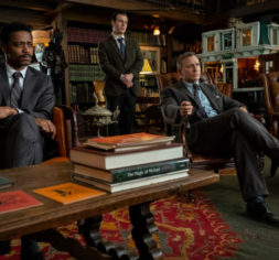 Lieutenant Elliot (Lakeith Stanfield), Trooper Wagner (Noah Segan) and Detective Benoit Blanc (Daniel Craig) investigate a murder in