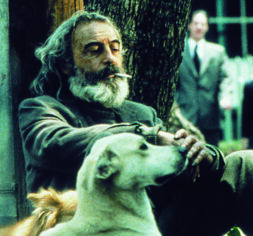 Hitman's best friend. Local vagrant and assassin El Chivo (Emilio Echevarria) keeping watch on his latest target with help from his furry companion in Alejandro Gonzalez Inarritu's