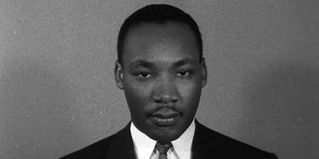 Martin Luther King Jr. staring into the camera