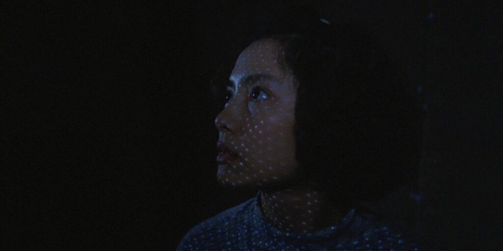 """A still image from the 2003 film """"Goodbye, Dragon Inn"""", featuring actor Chen Shiang-chyi standing behind a cinema screen"""