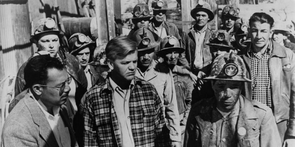 """A still image from the 1954 film """"Salt of the Earth"""" featuring actors Juan Chacón and Clinton Jencks"""