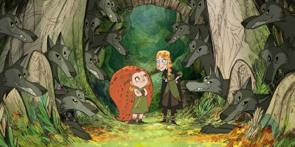 """A still from the animated film """"Wolfwalkers"""", featuring the characters Robyn and Mebh surrounded by a pack of friendly wolves"""